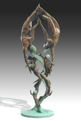 - DNA Maypole - Bronze sculpture by Barry Johnston