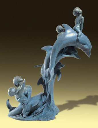 - Dolphin Boys - Bronze sculpture by Barry Johnston