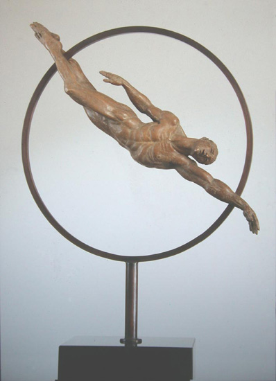 Swimmer - Bronze sculpture by Barry Johnston